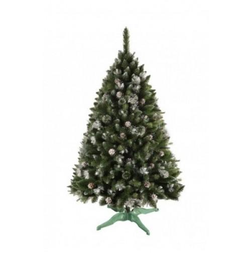 stromček vianočný JEDĽA 220cm s bielymi koncami + stojan