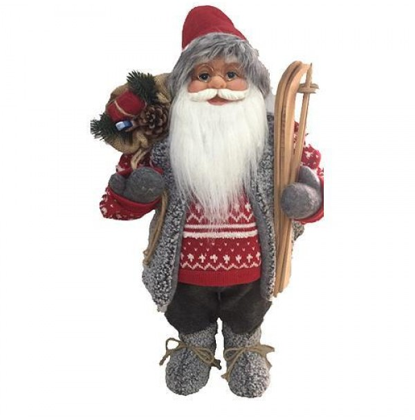 SLOVAKIA TREND S.R.O. Dekoracia MagicHome, Santa s lyžami a drevom, 122 cm