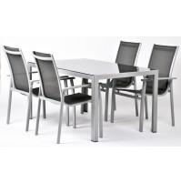 Aurelia 4+  zostava nábytku z hliníka (1x stôl Ryan + 4x stoh. Stoličky Valentina Comfort)