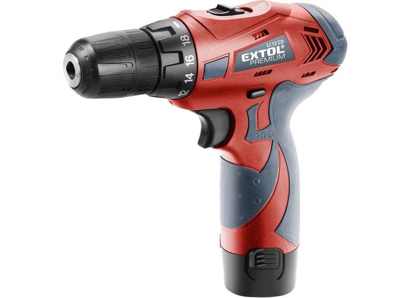 Extol Premium 8891151 Aku vŕtačka / skrutkovač LI 12CDB, 2 batérie 12V Li-ion 1,3Ah, kufor